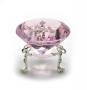 Кристалл хрустальный на подставке розовый